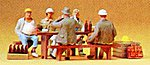 People Working Construction Workers Eating Lunch -- Model Railroad Figures -- HO Scale -- #10338