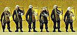 German Riot Police With Shields Up (6) -- Model Railroad Figures -- HO Scale -- #10393