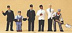 US Railroad Transition Era Passenger Train Crew (6) -- Model Railroad Figures -- HO Scale -- #10452