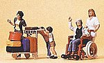 Passengers Travelers Pushing Cart & Wheelchair #1 -- Model Railroad Figures -- HO Scale -- #10465