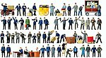 Working People - Assorted Working People -- Model Railroad Figures -- HO Scale -- #13004