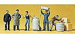 Loading Dock Workers (5) -- Model Railroad Figures -- HO Scale -- #14147