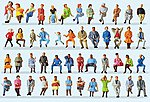 Passengers - Seated Travelers (48) -- Model Railroad Figures -- HO Scale -- #14418