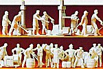Unpainted Railroad Freight House Workers -- Model Railroad Figures -- HO Scale -- #16348