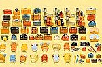 Luggage Assortment 90 Pieces -- Model Railroad Building Accessory Kit -- HO Scale -- #17005