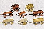 Handcarts - Assorted - HO-Scale (8) -- HO Scale Model Railroad Building Accessory -- #17103