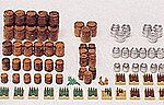 Beer Barrels & Crates with Bottles -- Model Railroad Building Accessory -- HO Scale -- #17105