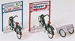 Bicycle Stand, Bicycles, Trailer Kit -- Model Railroad Building Accessory -- HO Scale -- #17163