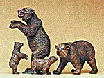 Brown Bears (4) -- Model Railroad Figures -- HO Scale -- #20386