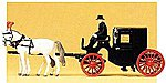 Horse-Drawn Closed Taxi with Three Figures -- HO Scale Model Railroad Vehicle -- #30452