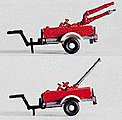 Foam Sprayer & Water Cannon Trailers -- HO Scale Model Railroad Vehicle -- #31114