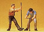 Track Workers with Wrench & Crow Bar -- Model Railroad Figures -- G Scale -- #45009