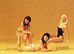 Women on Beach - 2 Sitting & 1 Lying Down -- Model Railroad Figures -- G Scale -- #45015