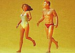 Couple Jogging on Beach -- Model Railroad Figures -- G Scale -- #45018