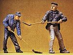 Construction Workers with Shovels -- Model Railroad Figures -- G Scale -- #45023