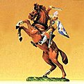 Norman Soldier On Rearing Horse with Sword -- Model Railroad Figure -- 1/25 Scale -- #51047