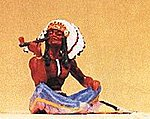 Native American Chief Smoking Peace Pipe -- Model Railroad Figure -- 1/25 Scale -- #54620