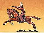 Indian Warrior on Horseback Firing Rifle -- Model Railroad Figure -- 1/25 Scale -- #54651
