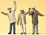 Men in Hardhats Waving Arms -- Model Railroad Figures -- G Scale -- #63052