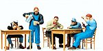 US Railroad Personnel on Break -- Model Railroad Figures -- O Scale -- #65357