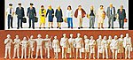 Civil Airline Personnel & Travelers -- Model Railroad Figures -- 1/144 scale -- #77102