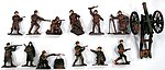 1/32 WWII Russian Infantry Figure Playset (12 w/Weapons & Cannon) (Bagged)