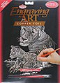 Copper Engraving Art Lioness & Cub -- Scratch Art Metal Art Kit -- #copf11