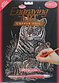 Copper Engraving Art Tiger & Cubs -- Scratch Art Metal Art Kit -- #copf12