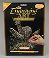 Gold Foil Engraving Art Deer -- Scratch Art Metal Art Kit -- #golf15