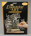 Gold Foil Engraving Art Fox & Cubs -- Scratch Art Metal Art Kit -- #golf16