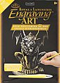 Gold Foil Engraving Art Lion Gargoyle -- Scratch Art Metal Art Kit -- #golf27