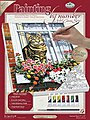 PBN Canvas Cat In The Window 9x12 -- Paint By Number Kit -- #pcs11