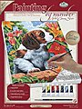 PBN Canvas Puppy & Flowers 9x12 -- Paint By Number Kit -- #pcs7