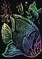 Rainbow Foil Engrvng Tropical Fish -- Scratch Art Metal Art Kit -- #rain11