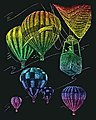 Rainbow Engraving Art Hot Air Balloons -- Scratch Art Metal Art Kit -- #rain23