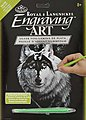 Silver Engraving Art Dragon Wolf -- Scratch Art Metal Art Kit -- #silf28