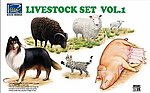 Livestock Set #1 -- Plastic Model Animal Figure -- 1/35 Scale -- #35007