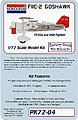 Monogram F11C2 Goshawk 1930s USN Fighter -- Plastic Model Airplane Kit -- 1/72 Scale -- #4
