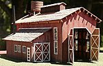 Engine House with door -- HO Scale Model Railroad Building -- #2003