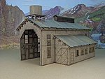Engine House without Door -- HO Scale Model Railroad Building -- #2004