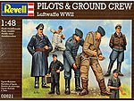 WWII Luftwaffe Pilots & Ground Crew (7) -- Plastic Model Military Figure Kit -- 1/48 Scale -- #02621