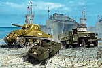 US Army Vehichles WWII -- Plastic Model Military Vehicle Kit -- 1/144 Scale -- #03350