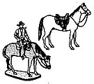 Cowboy & Two Horses -- Model Railroad Figures -- HO Scale -- #160