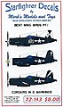 Bent Wing birds Pt.1 Corsairs in G Markings -- Plastic Model Aircraft Decal -- 1/72 -- #72143