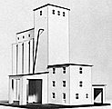 Concrete Grain Elevator Wood Kit -- HO Scale Model Building -- #3060