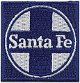 Santa Fe (Blue, White, Circle/Cross Logo) 2'' Square -- Cloth Railroad Patch -- #71043