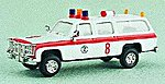 Suburban Airport Fire Dept. Ambulance White & Red Stripe -- HO Scale Model Roadway Vehicle -- #90060