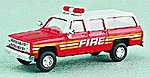 Chevrolet Suburban FDNY Battalion Chief White Over Red -- HO Scale Model Railroad Vehicle -- #90064