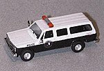Chevy Suburban White Settlement Police Black & White -- HO Scale Model Railroad Vehicle -- #90195