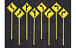 Road Path Warning Signs 1 (8) -- O Scale Model Railroad Roadway Signs -- #2072